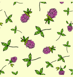 Seamless pattern with red clover vector