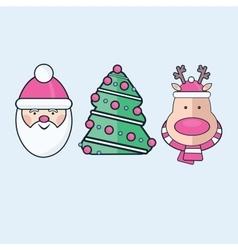 Set of three flat christmas icons santa tree vector