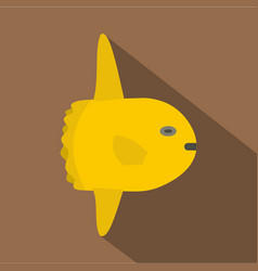 small yellow fish icon flat style vector image vector image