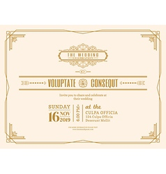 Vintage Wedding invitation card frame design vector image vector image