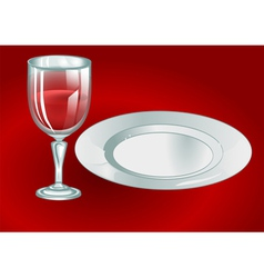 Wine glass with plate vector
