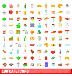 100 cafe icons set cartoon style vector image