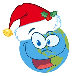 Santa hat on a earth cartoon character vector