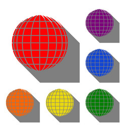 earth globe sign set of red orange yellow vector image