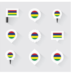 Mauritius flag and pins for infographic and map vector