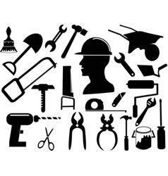 hand tool silhouettes vector image