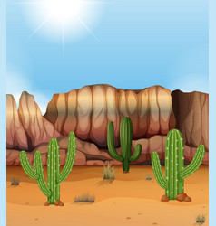 Scene with canyon and cactus in desert vector