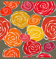 Vintage sketchy roses seamless background vector