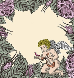Cupid in roses vector image