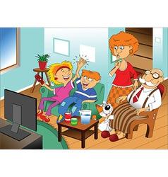 Cartoon family watching tv vector image