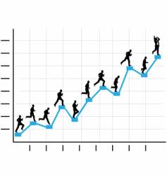 businessman runs up graph vector image