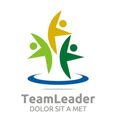 Logo teamleader guidance human abstract design vector