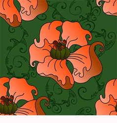 pattern with poppies on a green background vector image