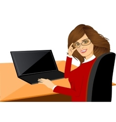 Happy young woman using laptop vector