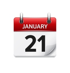 January 21 flat daily calendar icon date vector