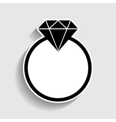 Diamond sign sticker style icon vector