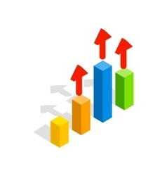 Growth chart icon isometric 3d style vector