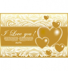 abstract card with gold hearts vector image vector image