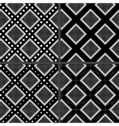 black and white rhombuses patterns vector image vector image