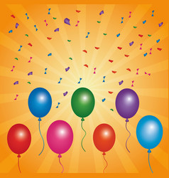 Bright multicolor balloons flying confetti and vector