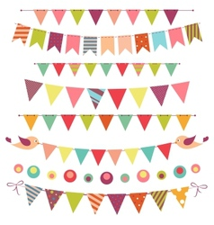 Bunting and garland set isolated on white vector