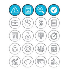 Business line icons money chart and document vector
