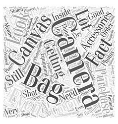 Camera bag canvas word cloud concept vector