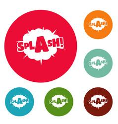 Comic boom splash icons circle set vector