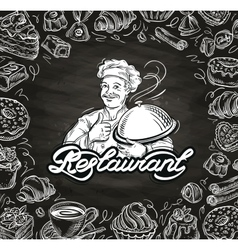 Cooking hand drawn chef and the food vector