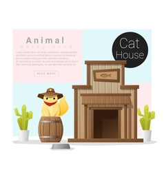 Cute animal collection cat house 2 vector