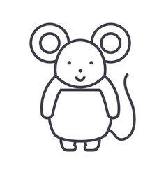 cute mouse line icon sign o vector image vector image