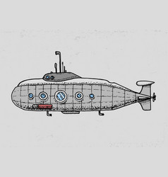 dives from military submarine or underwater boat vector image