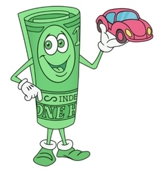 Dollar Bill Character Offering a Car vector image