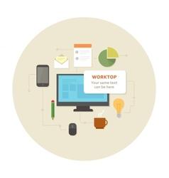 Flat design office work pictogram vector