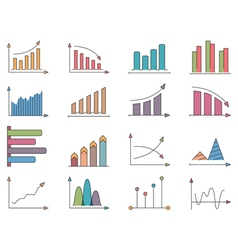 Graphs and charts icons vector
