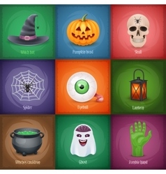 Happy halloween square banners vector