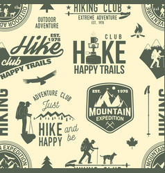 hiking seamless pattern or background vector image vector image