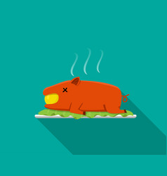 Hot barbecue suckling pig in flat style side view vector