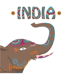 Indian elephant with color pattern vector