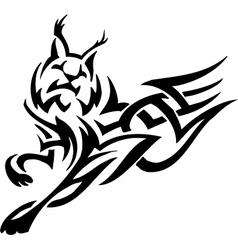 Lynx in tribal style - vector