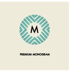 Modern monogram emblem logo ring of the vector