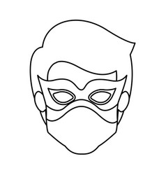 Monochrome contour of faceless kid superhero with vector