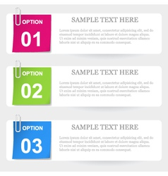 One two three - stapled note options vector image vector image