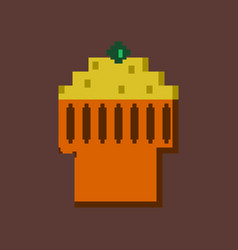 pixel icon in flat style fruit muffin vector image vector image