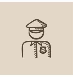 Policeman sketch icon vector image vector image