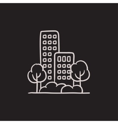 Residential building with trees sketch icon vector image vector image