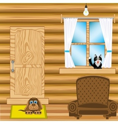Room in wooden house vector image vector image