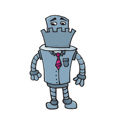 Sad business robot character in suit and tie vector