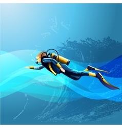 Scuba diver girl vector