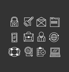 set of basic business icons vector image